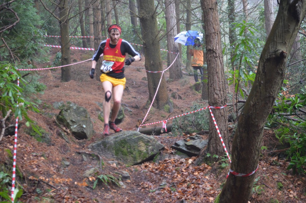 Iain Whiteside leading in Donard Wood approaching the finish