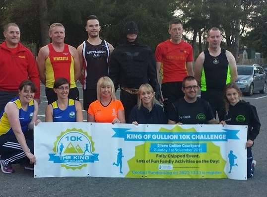 Representatives from Slieve Gullion Runners, Newry City Runners, Club Pulse Runners, Newcastle AC, Murlough AC, Castlewellan AC and Southern Area Hospice.